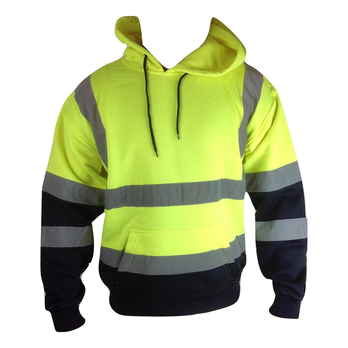 High Visibility 2 Tone Pull Over Reflective Hoodie Sizes S