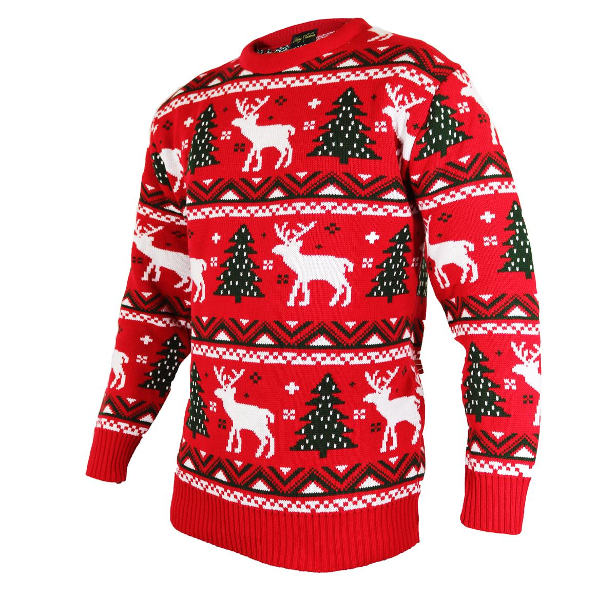 Christmas jumpers in fairisle red knitted style with reindeer christmas jumpers in fairisle red knitted style with reindeer xmas tree and snowflake bankloansurffo Image collections