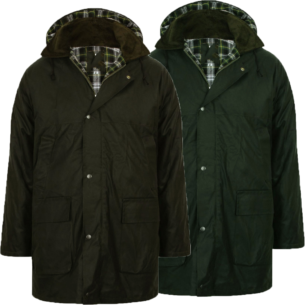 Mens Country Wax Padded Jacket Check Lined Waterproof